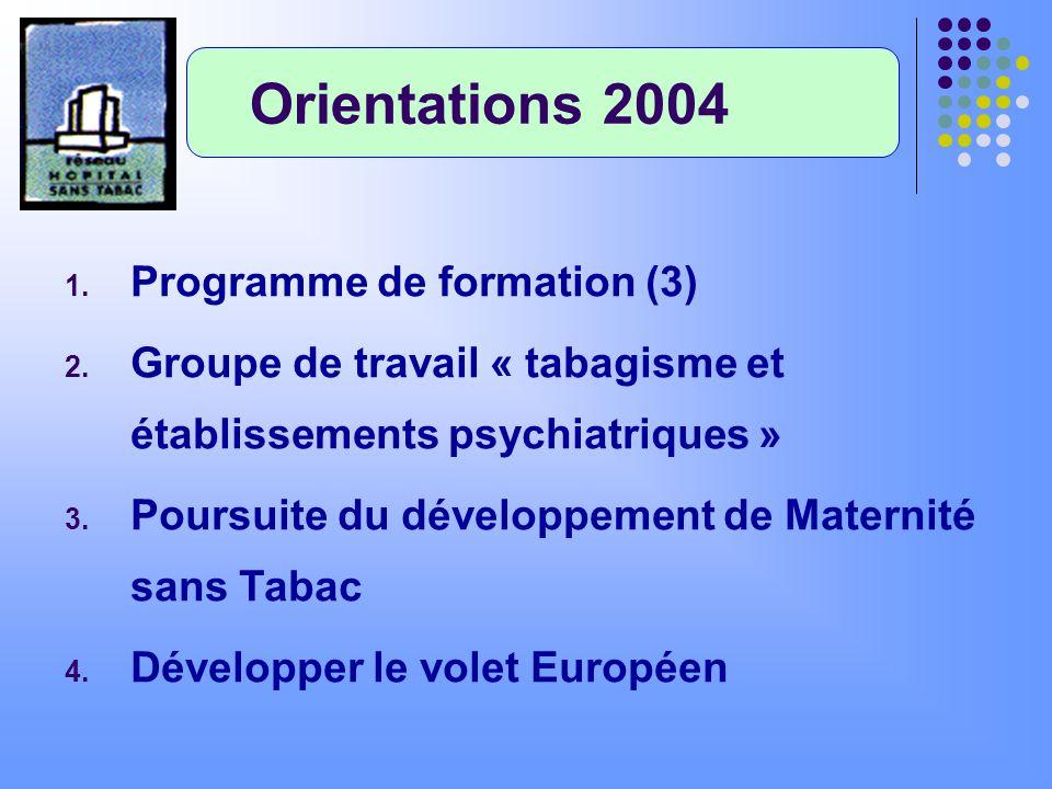 1. Programme de formation (3) 2. Groupe de travail « tabagisme et établissements psychiatriques » 3. Poursuite du développement de Maternité sans Taba