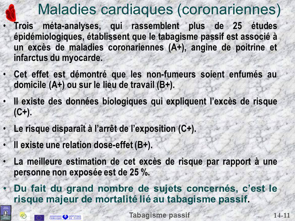 14-11 Tabagisme passif Maladies cardiaques (coronariennes) Trois méta-analyses, qui rassemblent plus de 25 études épidémiologiques, établissent que le