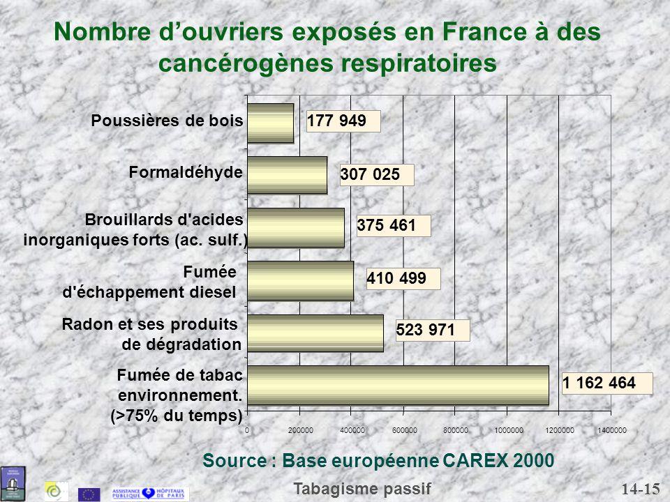 14-15 Tabagisme passif Nombre douvriers exposés en France à des cancérogènes respiratoires 1 162 464 523 971 410 499 375 461 307 025 177 949 020000040