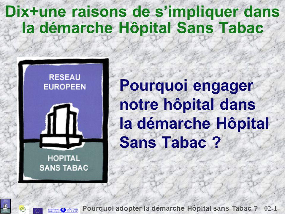 02-1 Pourquoi adopter la démarche Hôpital sans Tabac ? Dix+une raisons de simpliquer dans la démarche Hôpital Sans Tabac Pourquoi engager notre hôpita
