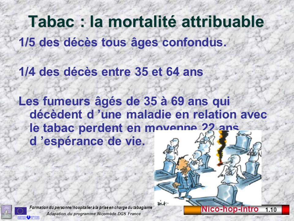 Nico-hop-intro 1.10 Formation du personnel hospitalier à la prise en charge du tabagisme Adapation du programme Nicomède DGS France Tabac : la mortali