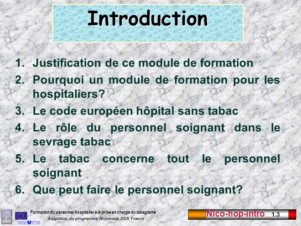 Nico-hop-intro 1.3 Formation du personnel hospitalier à la prise en charge du tabagisme Adapation du programme Nicomède DGS France 1.Justification de