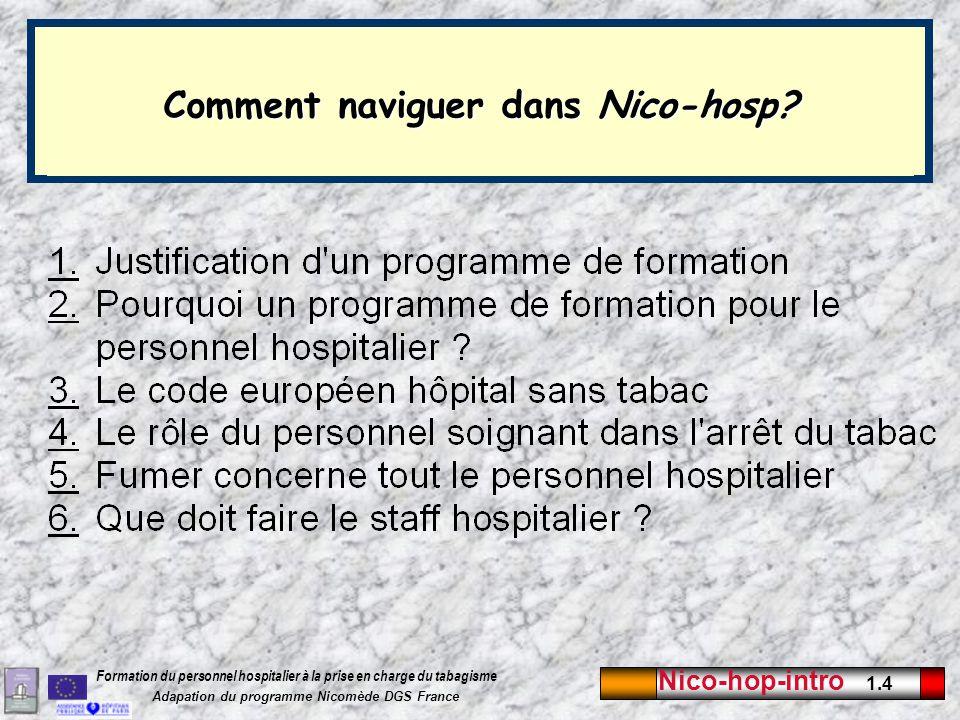 Nico-hop-intro 1.4 Formation du personnel hospitalier à la prise en charge du tabagisme Adapation du programme Nicomède DGS France.0 Comment naviguer