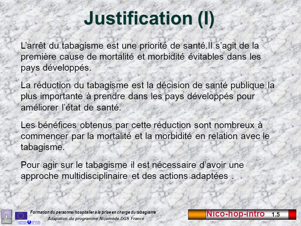 Nico-hop-intro 1.6 Formation du personnel hospitalier à la prise en charge du tabagisme Adapation du programme Nicomède DGS France Justification (II) Les professionnels de santé ont un rôle important à jouer quil s agisse des médecins ou des éducateurs.