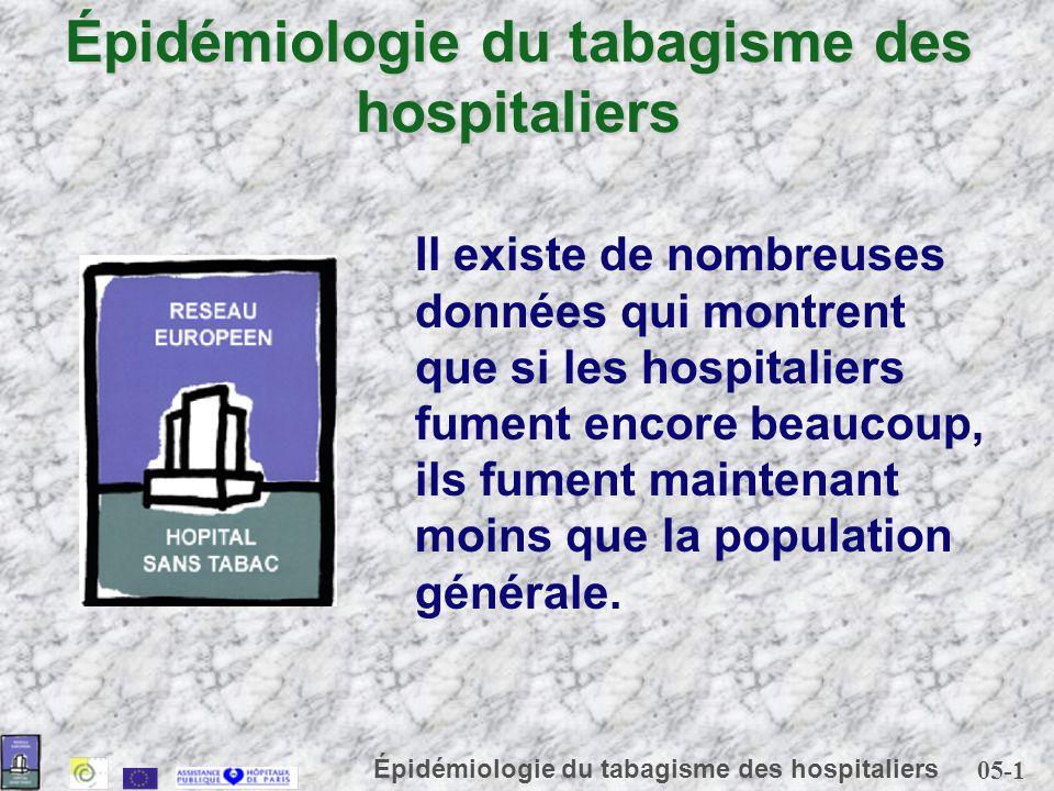 05-1 Épidémiologie du tabagisme des hospitaliers Il existe de nombreuses données qui montrent que si les hospitaliers fument encore beaucoup, ils fume