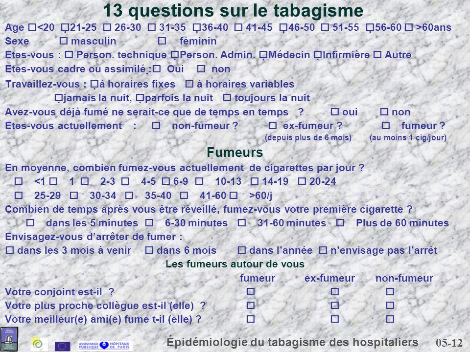 05-12 Épidémiologie du tabagisme des hospitaliers 13 questions sur le tabagisme Age 60ans Sexe masculin féminin Etes-vous : Person. technique Person.