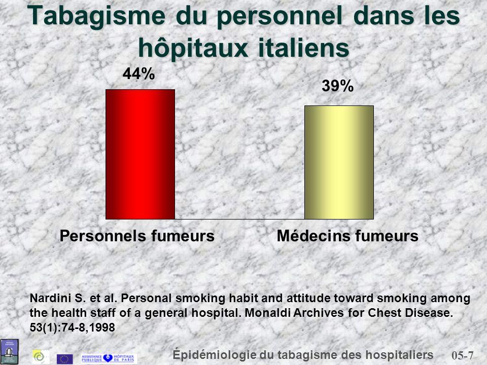 05-7 Épidémiologie du tabagisme des hospitaliers Tabagisme du personnel dans les hôpitaux italiens Nardini S. et al. Personal smoking habit and attitu