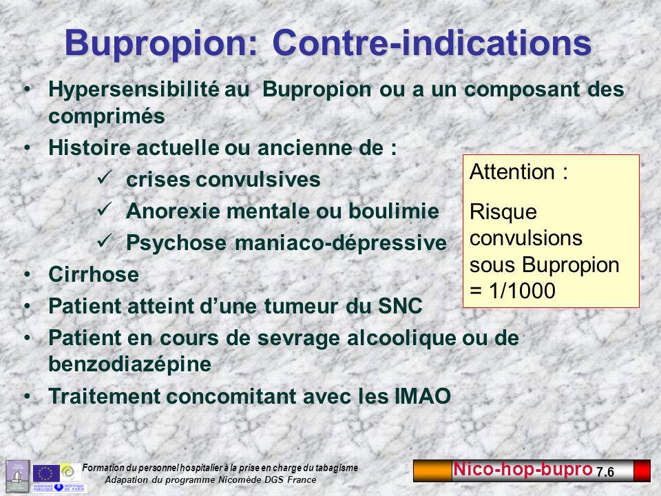 Nico-hop-bupro 7.6 Formation du personnel hospitalier à la prise en charge du tabagisme Adapation du programme Nicomède DGS France Bupropion: Contre-i