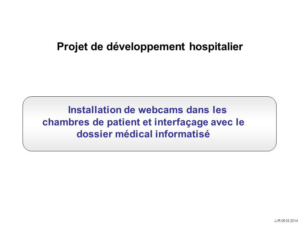 Projet de développement hospitalier Installation de webcams dans les chambres de patient et interfaçage avec le dossier médical informatisé JJR 05 03 2014