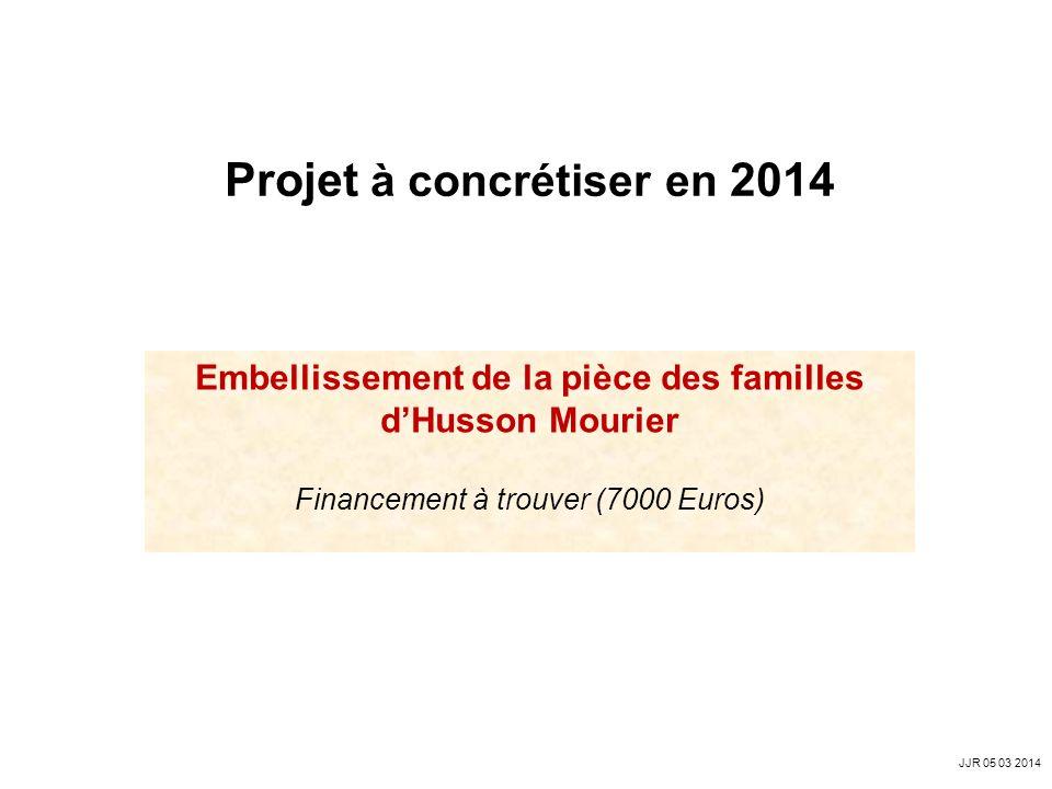 Embellissement de la pièce des familles dHusson Mourier Financement à trouver (7000 Euros) Projet à concrétiser en 2014 JJR 05 03 2014