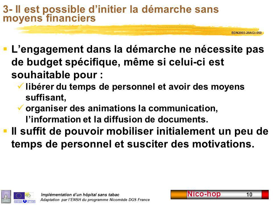 Implémentation dun hôpital sans tabac Adaptation par lENSH du programme Nicomède DGS France Nico-hop 10 3- Il est possible dinitier la démarche sans m
