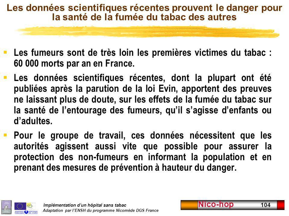 Implémentation dun hôpital sans tabac Adaptation par lENSH du programme Nicomède DGS France Nico-hop 104 Les données scientifiques récentes prouvent l