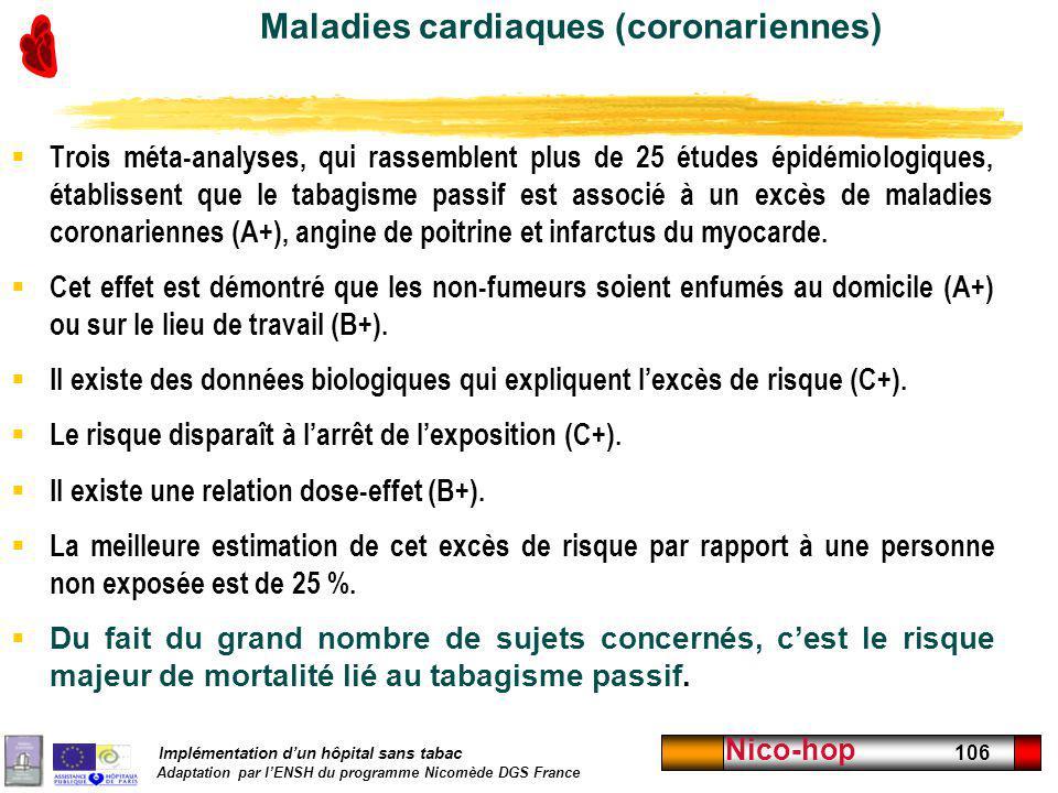 Implémentation dun hôpital sans tabac Adaptation par lENSH du programme Nicomède DGS France Nico-hop 106 Maladies cardiaques (coronariennes) Trois mét