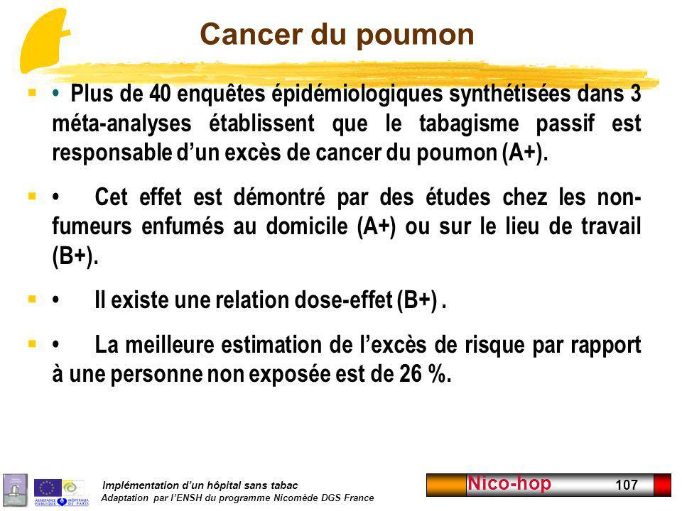 Implémentation dun hôpital sans tabac Adaptation par lENSH du programme Nicomède DGS France Nico-hop 107 Cancer du poumon Plus de 40 enquêtes épidémio