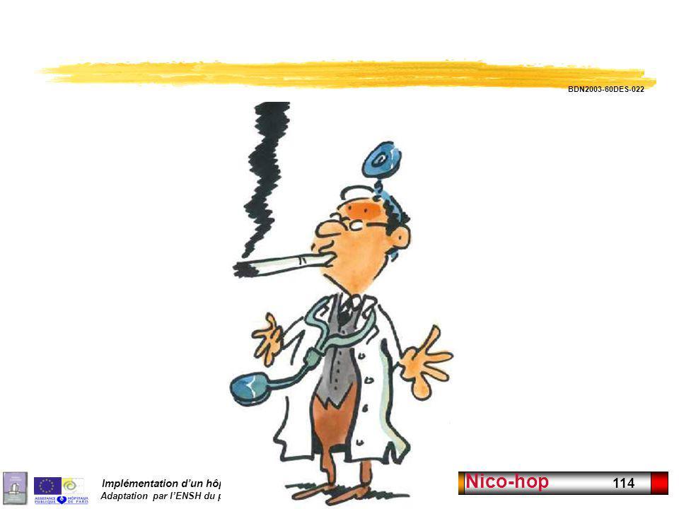 Implémentation dun hôpital sans tabac Adaptation par lENSH du programme Nicomède DGS France Nico-hop 114 Dessin Pécub 18 BDN2003-60DES-022