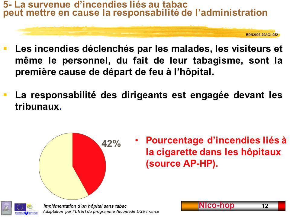 Implémentation dun hôpital sans tabac Adaptation par lENSH du programme Nicomède DGS France Nico-hop 12 5- La survenue dincendies liés au tabac peut m