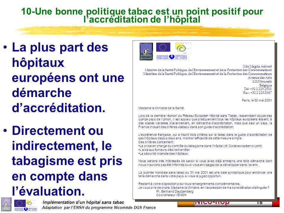 Implémentation dun hôpital sans tabac Adaptation par lENSH du programme Nicomède DGS France Nico-hop 18 Mrs Magda Aelvoet Ministre de la Santé Publiqu