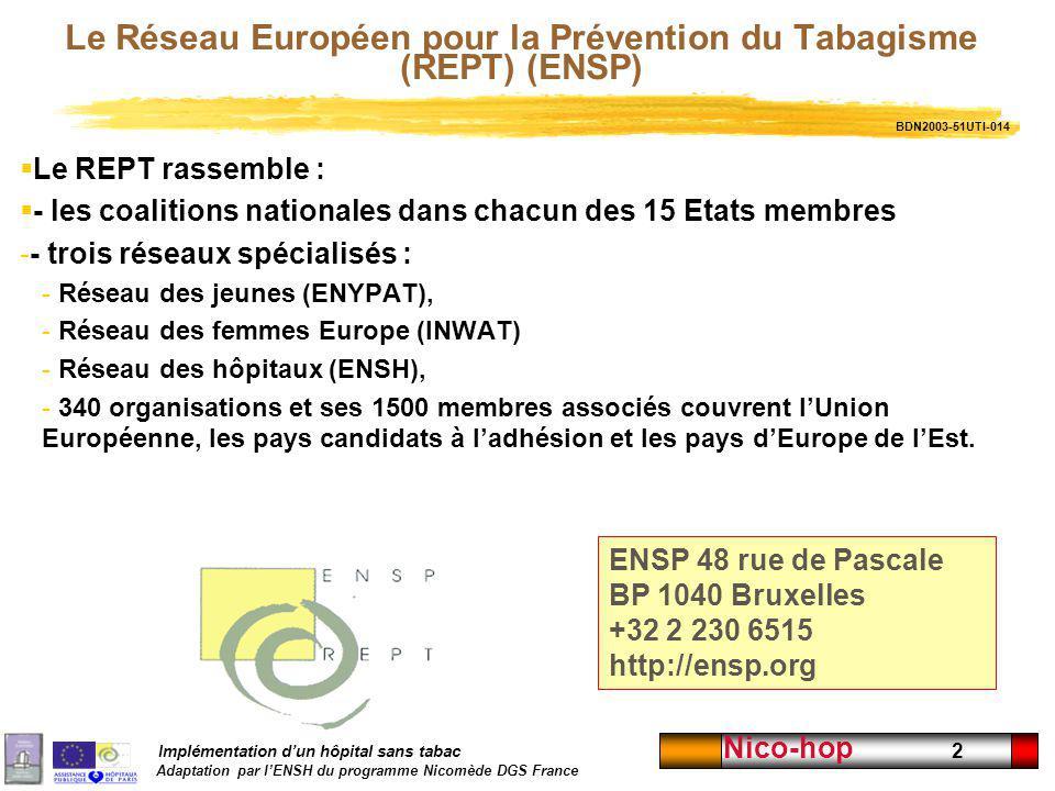 Implémentation dun hôpital sans tabac Adaptation par lENSH du programme Nicomède DGS France Nico-hop 2 Le Réseau Européen pour la Prévention du Tabagi