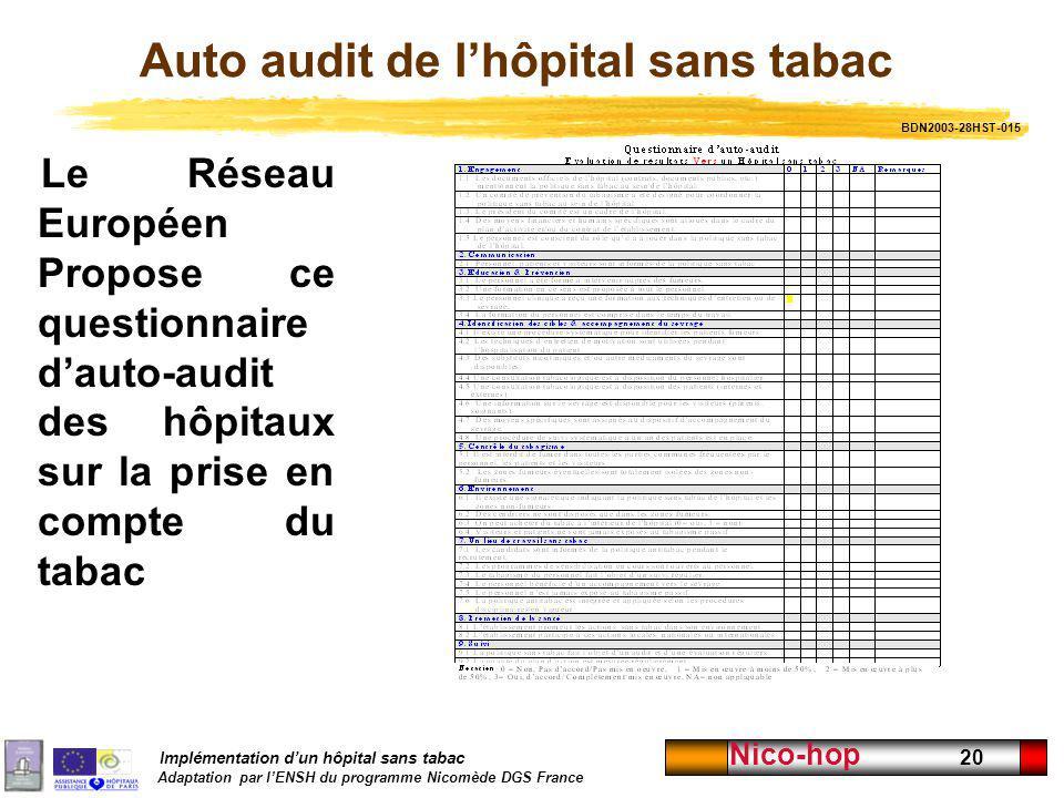 Implémentation dun hôpital sans tabac Adaptation par lENSH du programme Nicomède DGS France Nico-hop 20 Auto audit de lhôpital sans tabac Le Réseau Eu