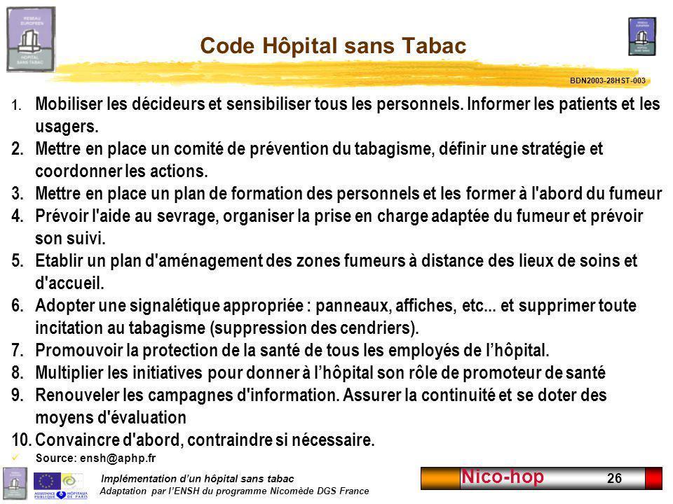 Implémentation dun hôpital sans tabac Adaptation par lENSH du programme Nicomède DGS France Nico-hop 26 Code Hôpital sans Tabac 1. Mobiliser les décid