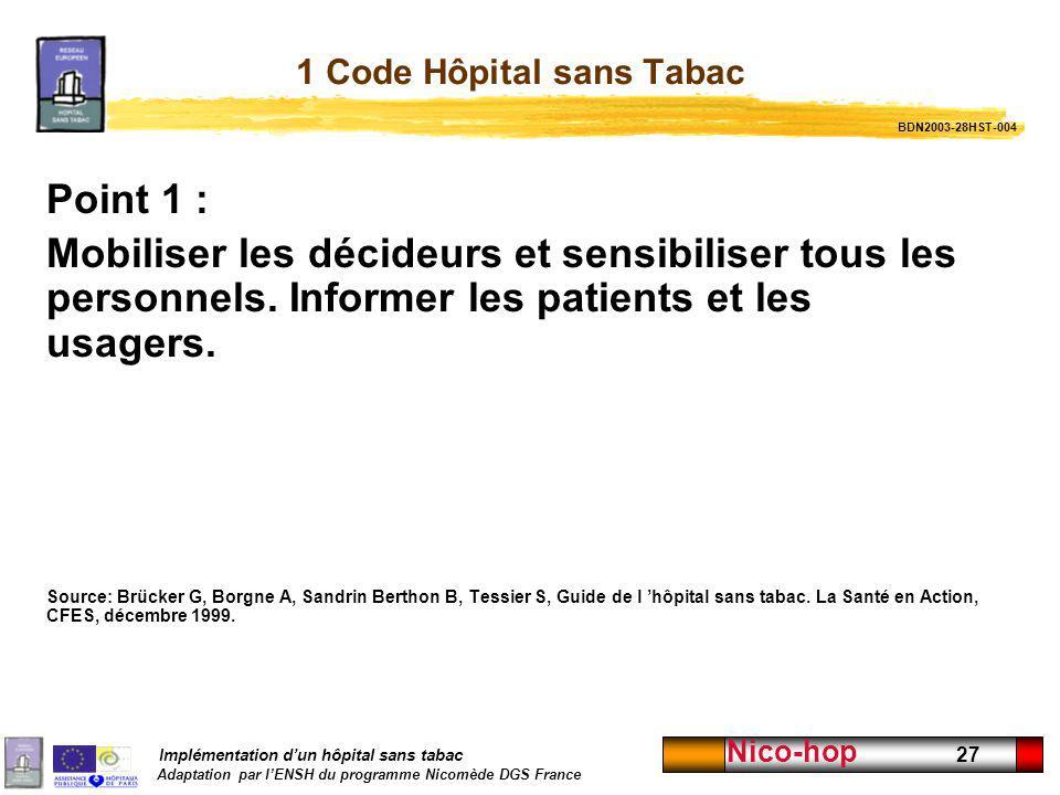 Implémentation dun hôpital sans tabac Adaptation par lENSH du programme Nicomède DGS France Nico-hop 27 1 Code Hôpital sans Tabac Point 1 : Mobiliser