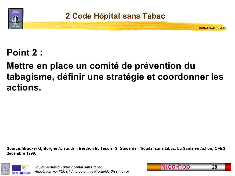Implémentation dun hôpital sans tabac Adaptation par lENSH du programme Nicomède DGS France Nico-hop 28 2 Code Hôpital sans Tabac Point 2 : Mettre en
