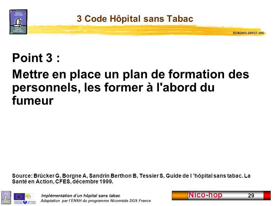Implémentation dun hôpital sans tabac Adaptation par lENSH du programme Nicomède DGS France Nico-hop 29 3 Code Hôpital sans Tabac Point 3 : Mettre en