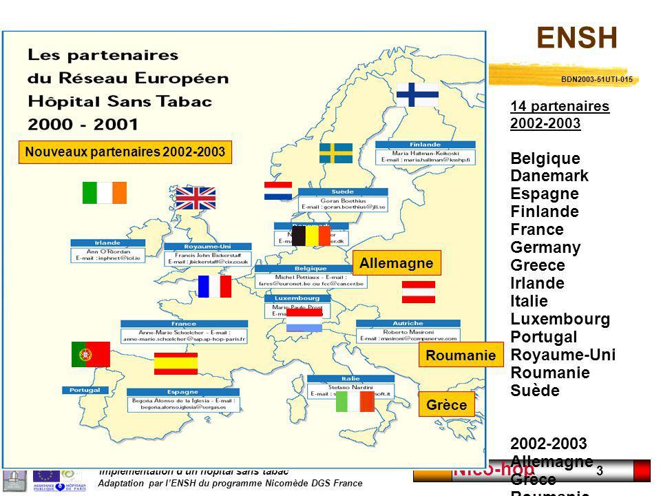 Implémentation dun hôpital sans tabac Adaptation par lENSH du programme Nicomède DGS France Nico-hop 3 14 partenaires 2002-2003 Belgique Danemark Espa