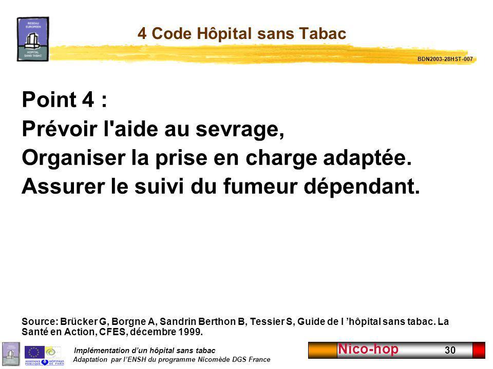 Implémentation dun hôpital sans tabac Adaptation par lENSH du programme Nicomède DGS France Nico-hop 30 4 Code Hôpital sans Tabac Point 4 : Prévoir l'