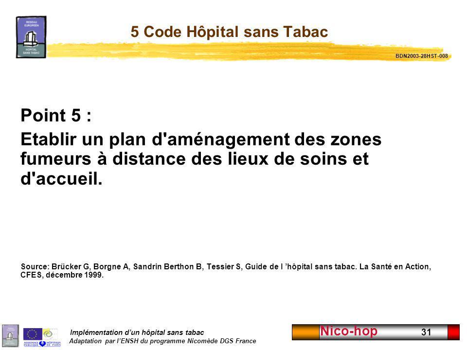 Implémentation dun hôpital sans tabac Adaptation par lENSH du programme Nicomède DGS France Nico-hop 31 5 Code Hôpital sans Tabac Point 5 : Etablir un