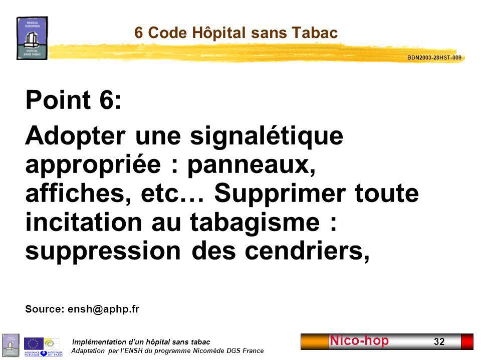 Implémentation dun hôpital sans tabac Adaptation par lENSH du programme Nicomède DGS France Nico-hop 32 6 Code Hôpital sans Tabac Point 6: Adopter une