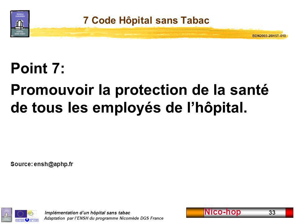 Implémentation dun hôpital sans tabac Adaptation par lENSH du programme Nicomède DGS France Nico-hop 33 7 Code Hôpital sans Tabac Point 7: Promouvoir