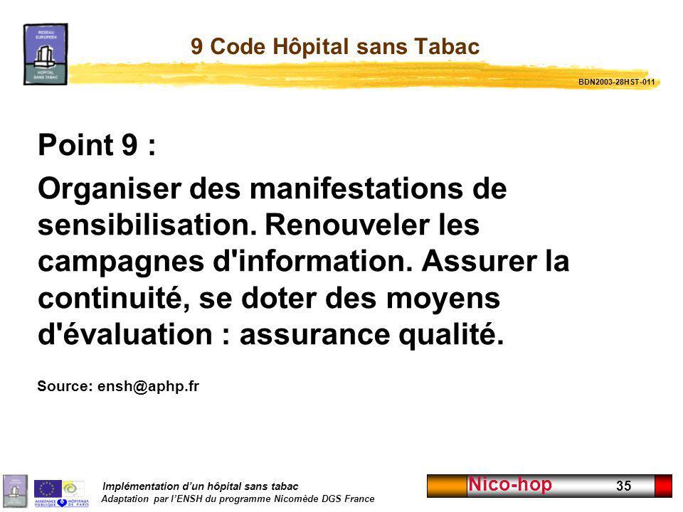 Implémentation dun hôpital sans tabac Adaptation par lENSH du programme Nicomède DGS France Nico-hop 35 9 Code Hôpital sans Tabac Point 9 : Organiser