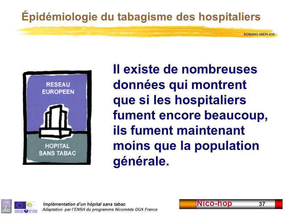 Implémentation dun hôpital sans tabac Adaptation par lENSH du programme Nicomède DGS France Nico-hop 37 Épidémiologie du tabagisme des hospitaliers Il