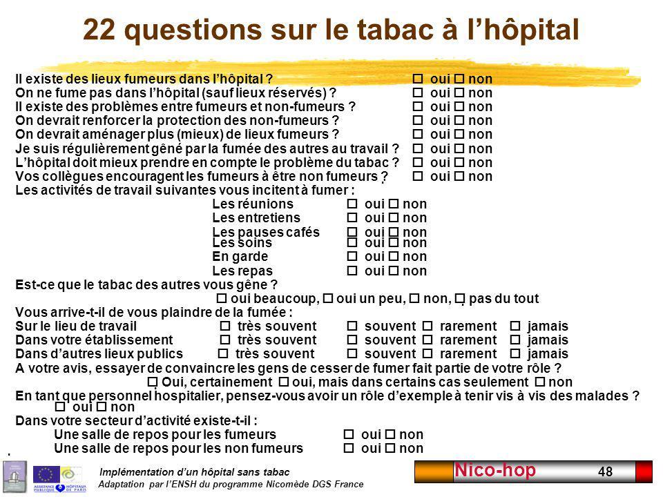 Implémentation dun hôpital sans tabac Adaptation par lENSH du programme Nicomède DGS France Nico-hop 48 22 questions sur le tabac à lhôpital Il existe