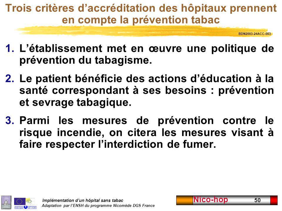 Implémentation dun hôpital sans tabac Adaptation par lENSH du programme Nicomède DGS France Nico-hop 50 Trois critères daccréditation des hôpitaux pre