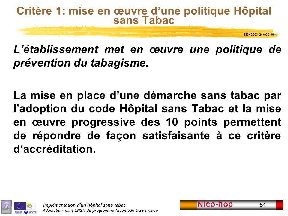 Implémentation dun hôpital sans tabac Adaptation par lENSH du programme Nicomède DGS France Nico-hop 51 Critère 1: mise en œuvre dune politique Hôpita