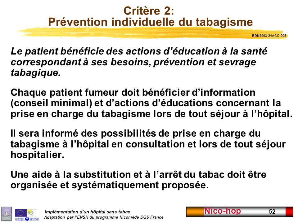 Implémentation dun hôpital sans tabac Adaptation par lENSH du programme Nicomède DGS France Nico-hop 52 Critère 2: Prévention individuelle du tabagism