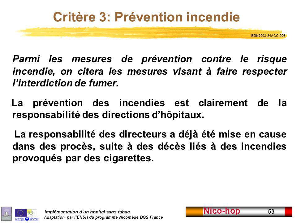 Implémentation dun hôpital sans tabac Adaptation par lENSH du programme Nicomède DGS France Nico-hop 53 Critère 3: Prévention incendie Parmi les mesur