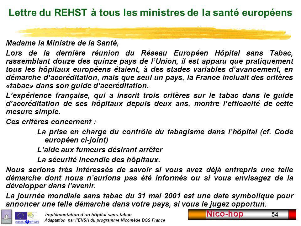 Implémentation dun hôpital sans tabac Adaptation par lENSH du programme Nicomède DGS France Nico-hop 54 Lettre du REHST à tous les ministres de la san