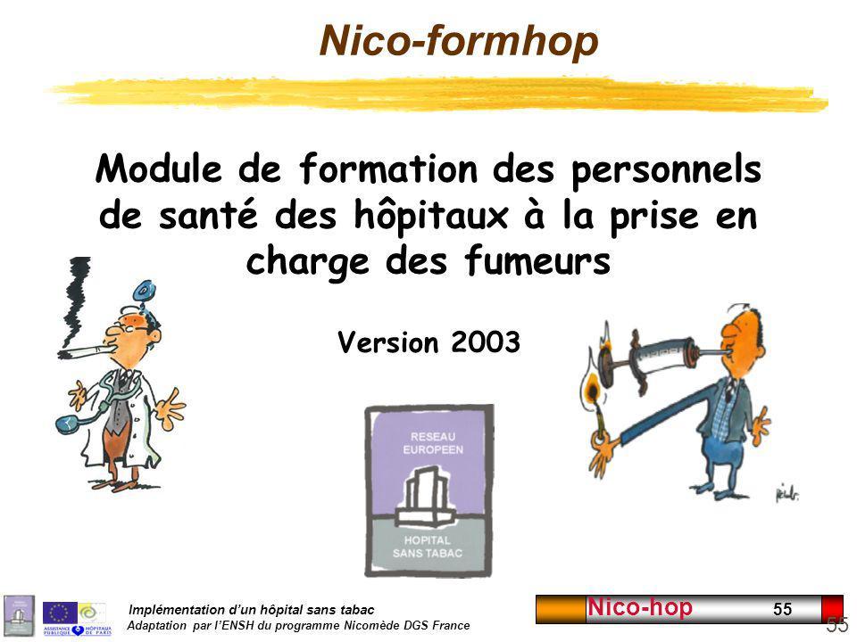Implémentation dun hôpital sans tabac Adaptation par lENSH du programme Nicomède DGS France Nico-hop 55 Module de formation des personnels de santé de