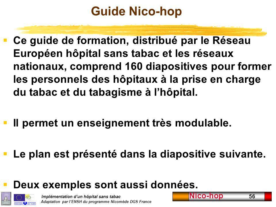 Implémentation dun hôpital sans tabac Adaptation par lENSH du programme Nicomède DGS France Nico-hop 56 Guide Nico-hop Ce guide de formation, distribu