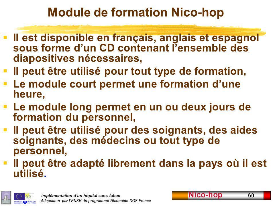 Implémentation dun hôpital sans tabac Adaptation par lENSH du programme Nicomède DGS France Nico-hop 60 Module de formation Nico-hop Il est disponible