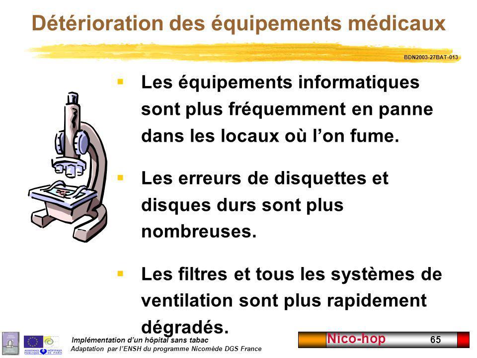 Implémentation dun hôpital sans tabac Adaptation par lENSH du programme Nicomède DGS France Nico-hop 65 Détérioration des équipements médicaux Les équ