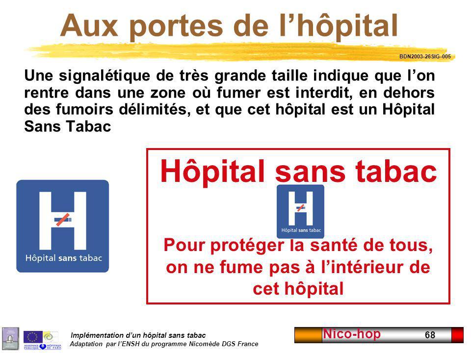 Implémentation dun hôpital sans tabac Adaptation par lENSH du programme Nicomède DGS France Nico-hop 68 Aux portes de lhôpital Une signalétique de trè