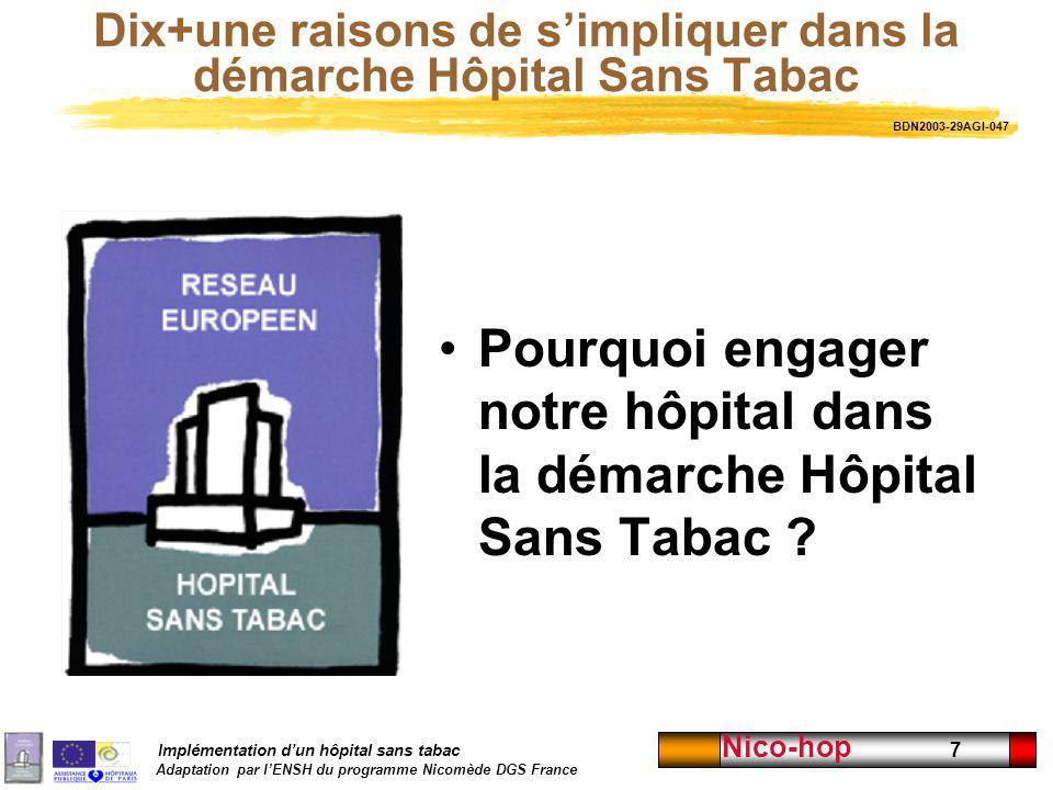 Implémentation dun hôpital sans tabac Adaptation par lENSH du programme Nicomède DGS France Nico-hop 7 Dix+une raisons de simpliquer dans la démarche