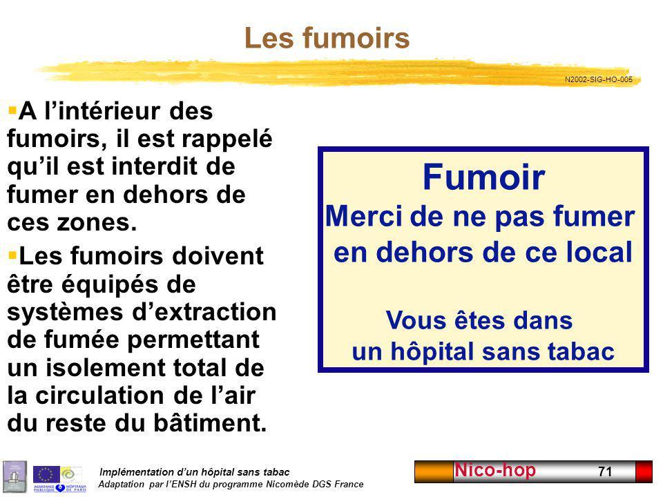 Implémentation dun hôpital sans tabac Adaptation par lENSH du programme Nicomède DGS France Nico-hop 71 Les fumoirs A lintérieur des fumoirs, il est r