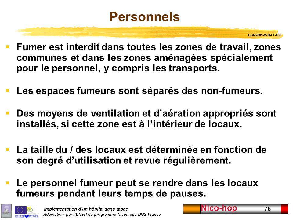 Implémentation dun hôpital sans tabac Adaptation par lENSH du programme Nicomède DGS France Nico-hop 76 Personnels Fumer est interdit dans toutes les