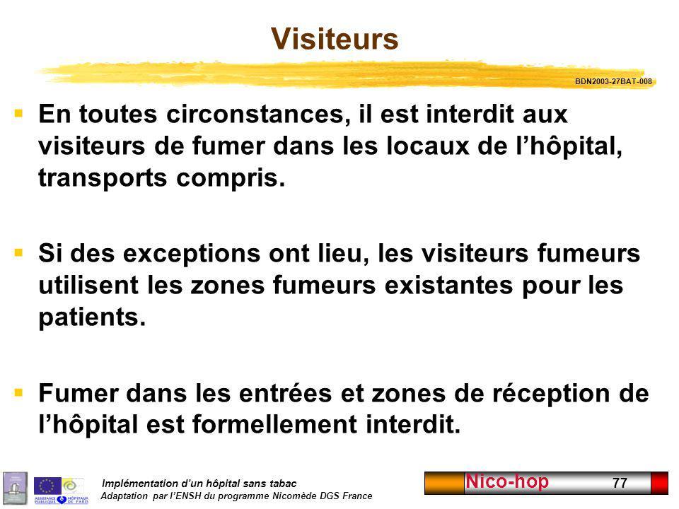 Implémentation dun hôpital sans tabac Adaptation par lENSH du programme Nicomède DGS France Nico-hop 77 Visiteurs En toutes circonstances, il est inte