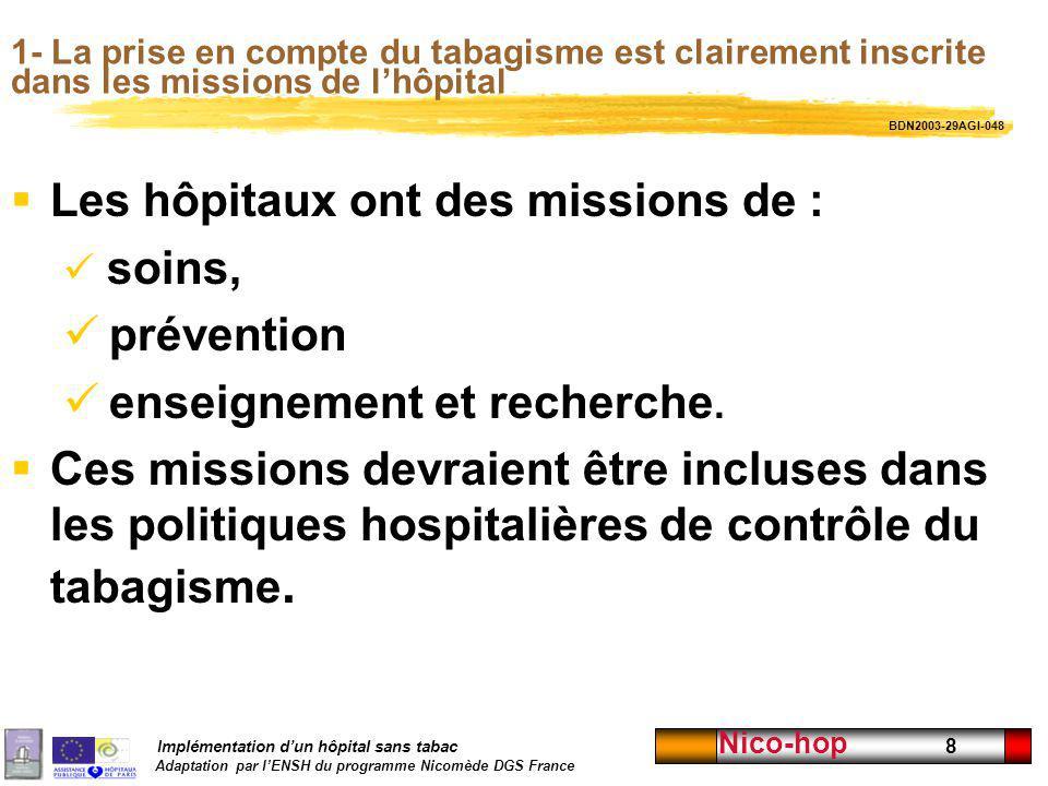 Implémentation dun hôpital sans tabac Adaptation par lENSH du programme Nicomède DGS France Nico-hop 8 1- La prise en compte du tabagisme est claireme